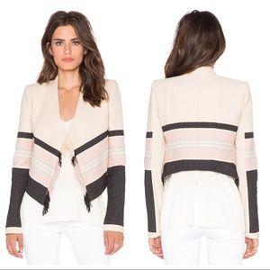 BCBG MaxAzria Walker Fringe Woven Jacquard Jacket